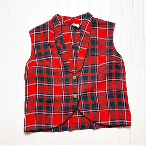 Vintage '70s Sears Plaid Cropped Vest Red Green